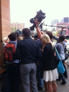 The media pack scramble to interview the family after the trial